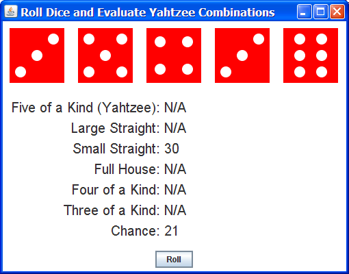 Creating a dice game in java
